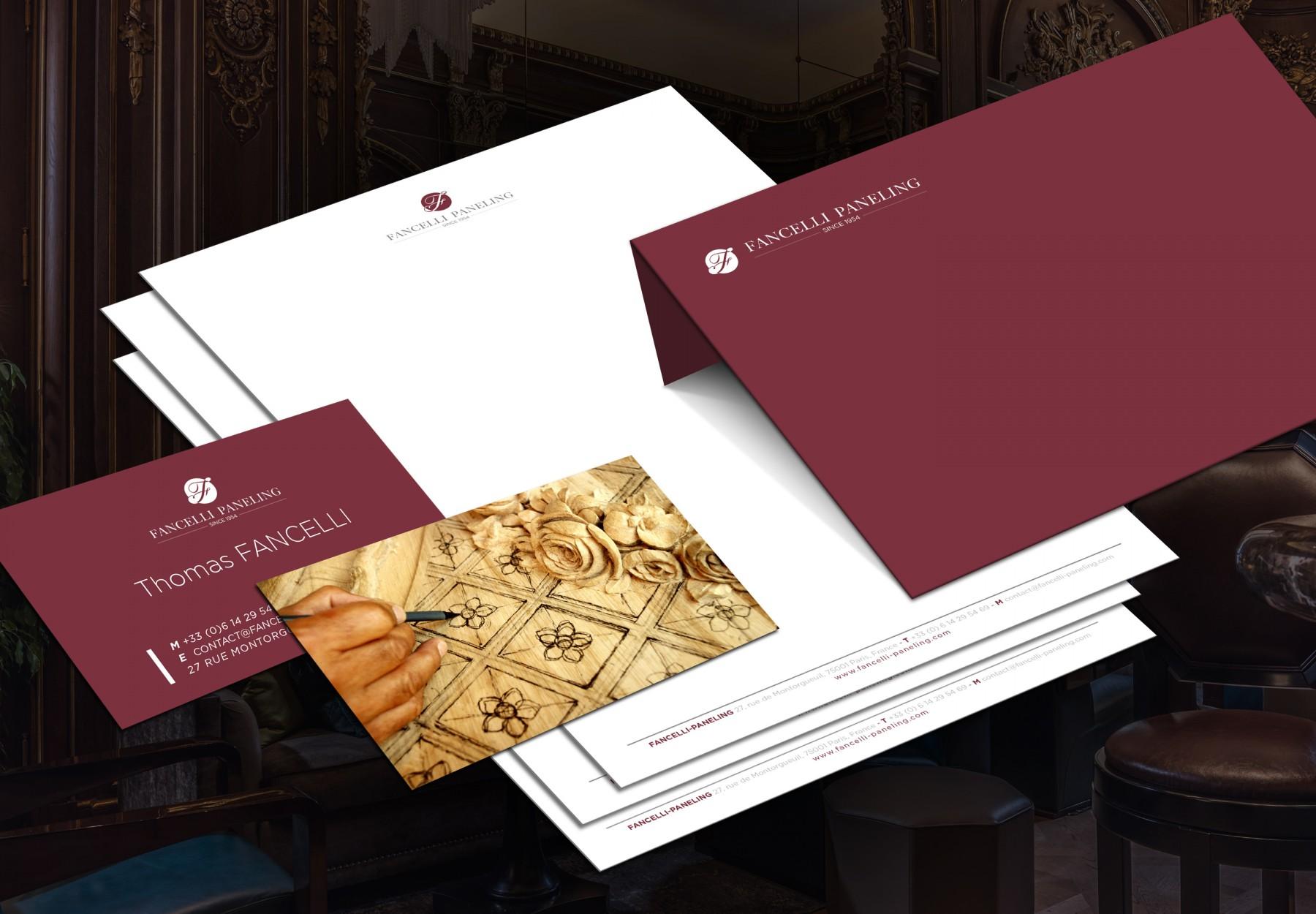Design pour papeterie crée par Keys-Studio pour Fancelli-Paneling